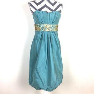Kay Unger Teal Blue and Sequins Cocktail Dress
